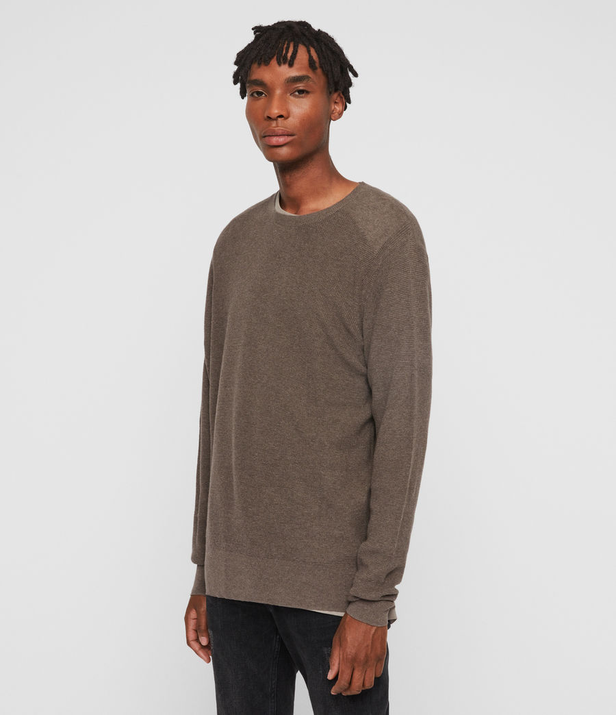 Mens Eben Crew Sweater (fawn_brown_marl) - Image 4
