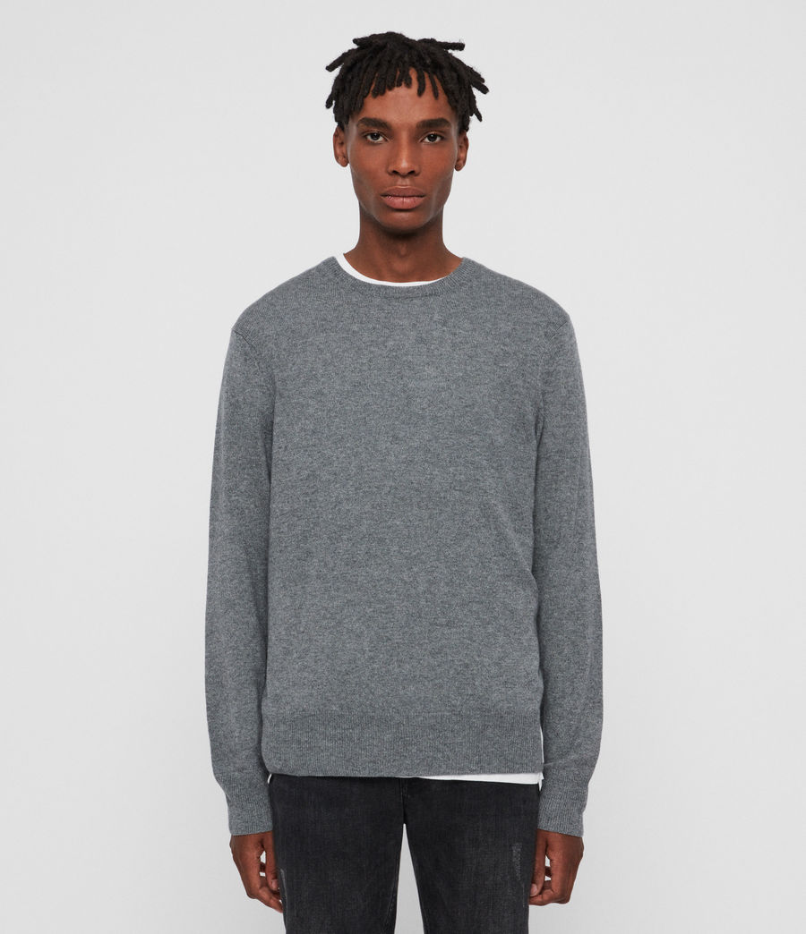 Men's Valter Crew Cashmere Blend Jumper (grey_marl) - Image 2