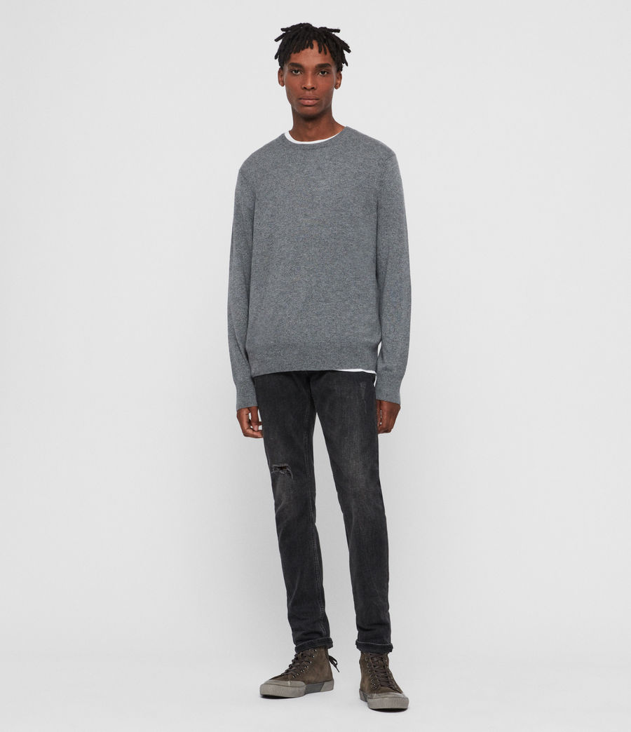 Men's Valter Crew Cashmere Blend Jumper (grey_marl) - Image 3