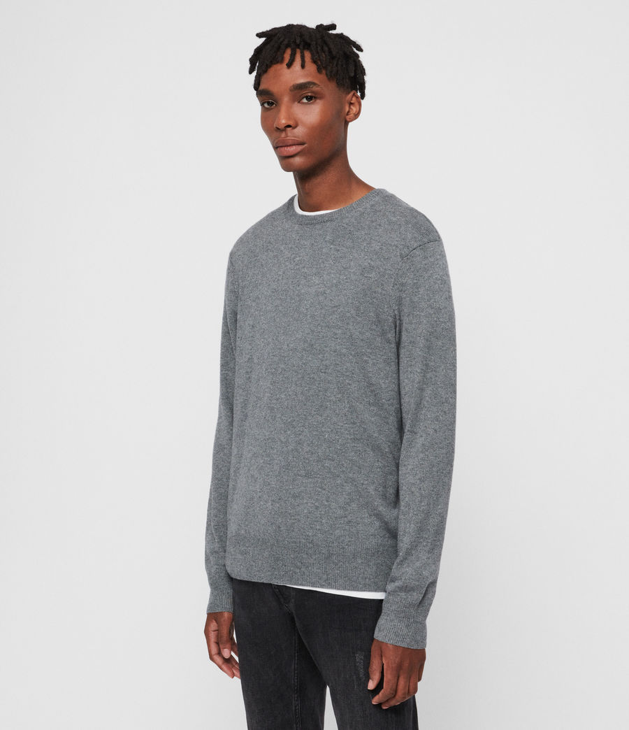 Men's Valter Crew Cashmere Blend Jumper (grey_marl) - Image 4