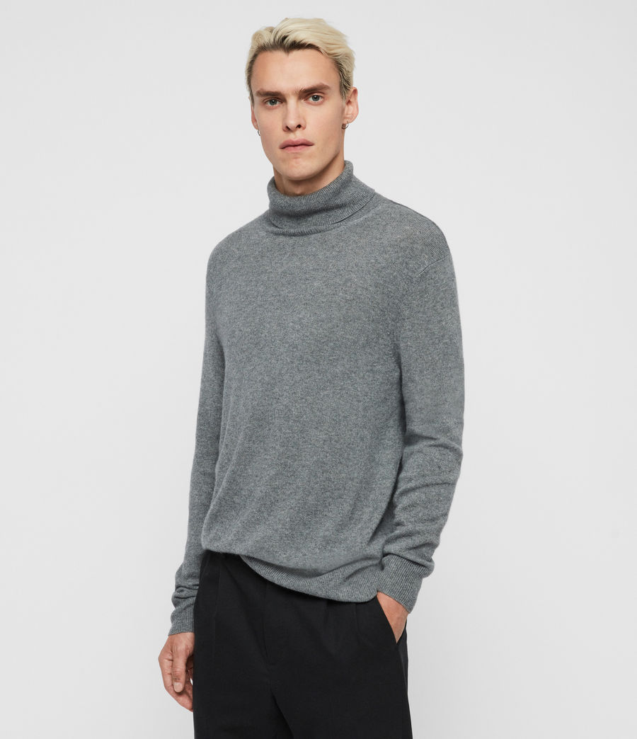 Mens Valter Roll Neck Sweater (grey_marl) - Image 4