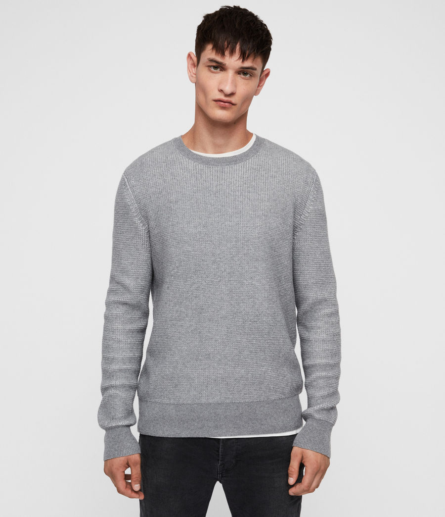 Men's Natan Crew Jumper (grey_marl) - Image 1