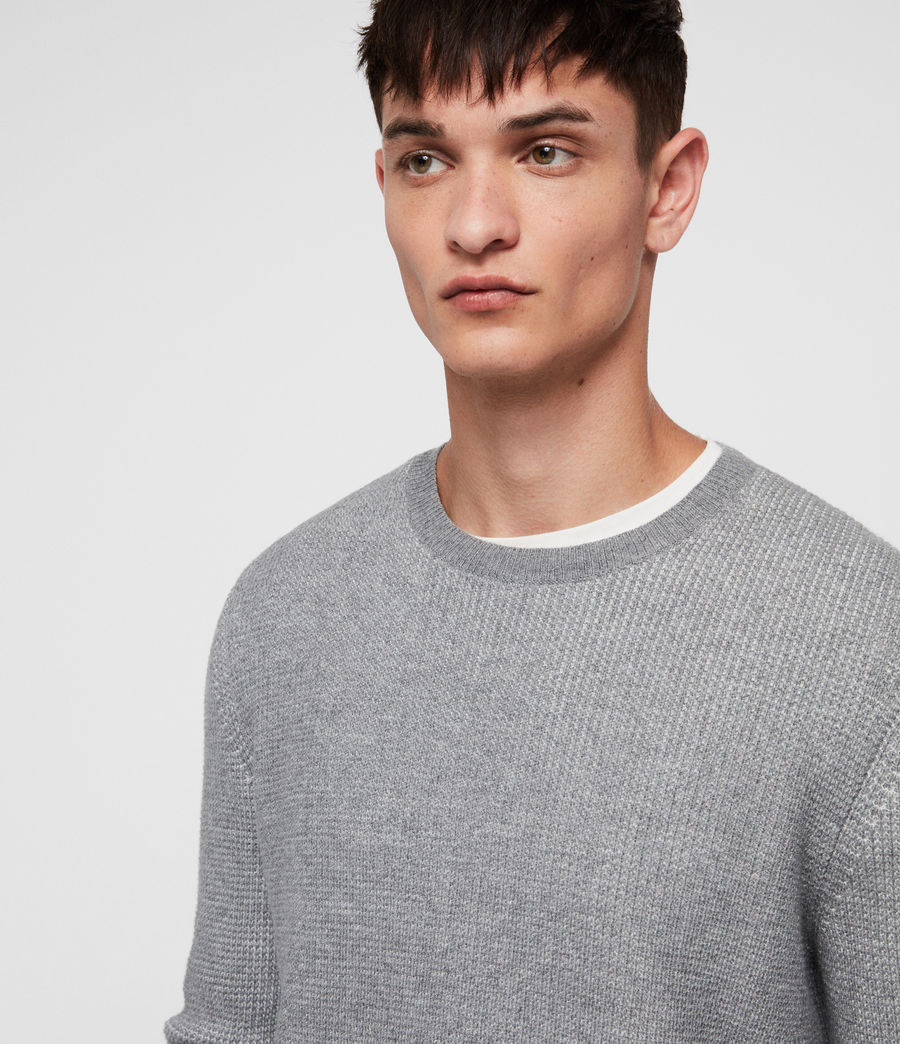 Men's Natan Crew Jumper (grey_marl) - Image 2