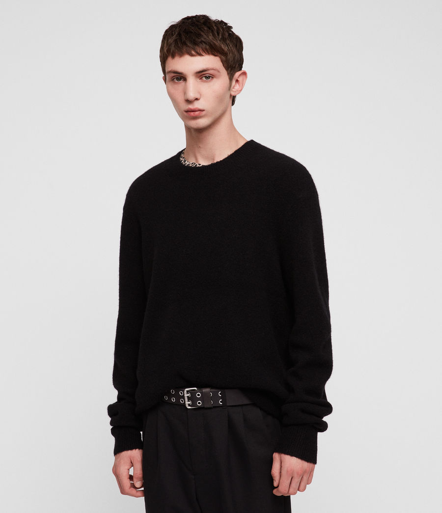 Mens Hawk Crew Sweater (black) - Image 3