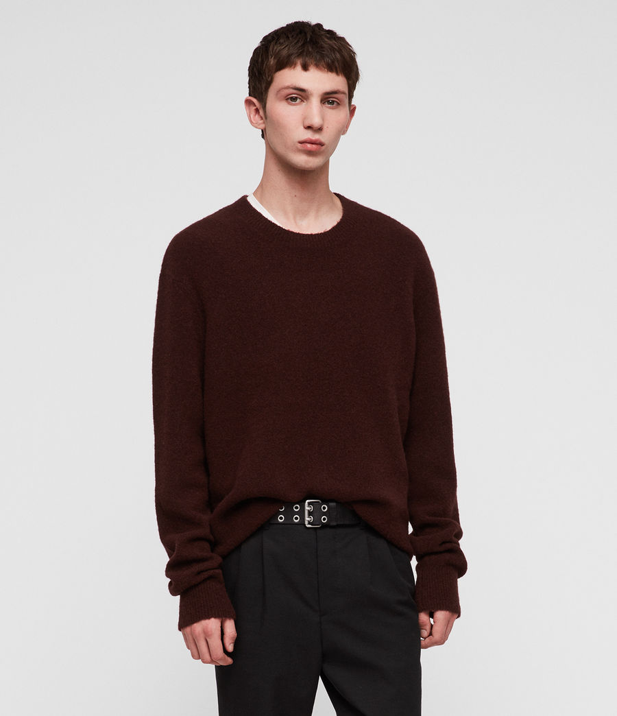Men's Hawk Crew Jumper (dark_rust_red) - Image 4