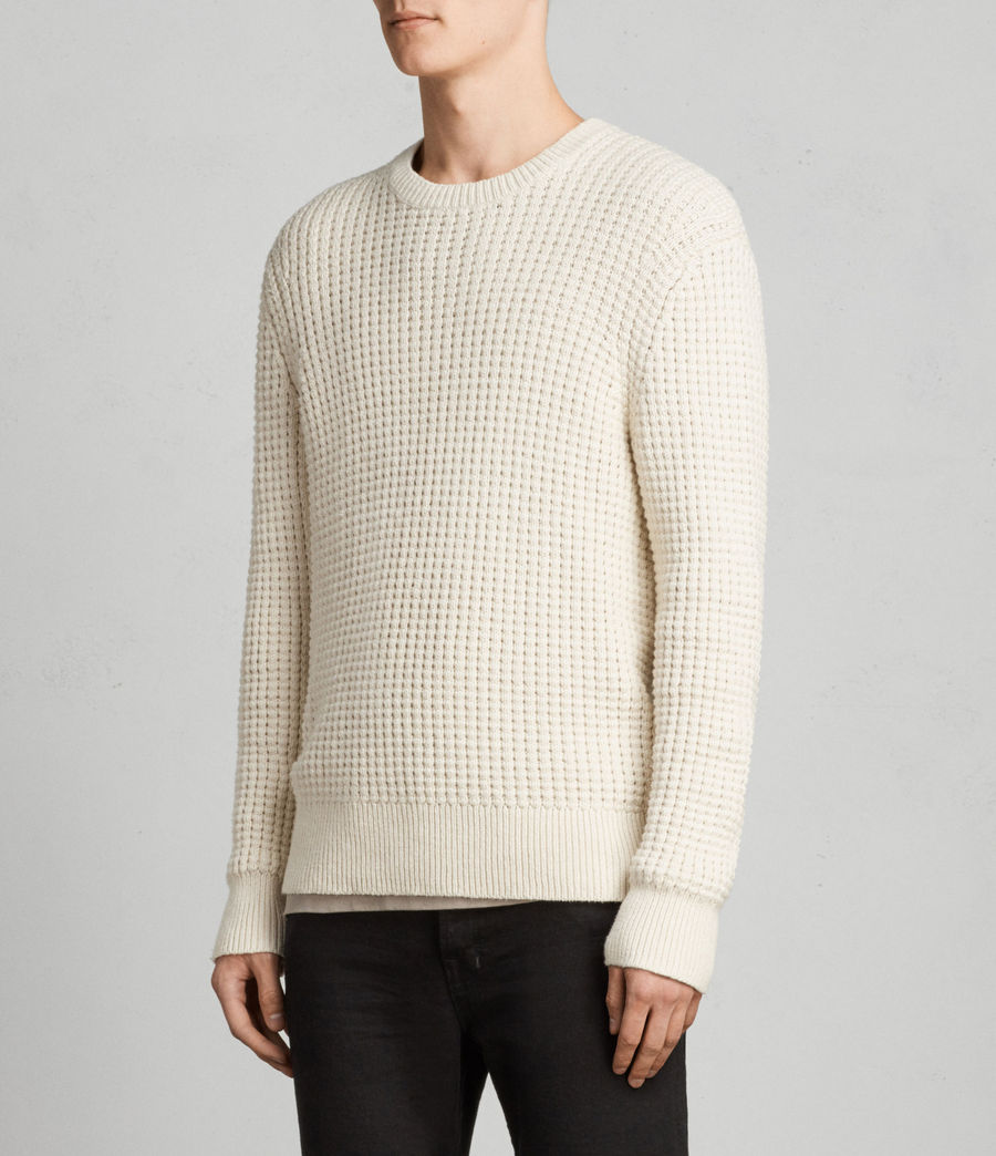 Men's Kee Crew Jumper (ECRU WHITE) - Image 3