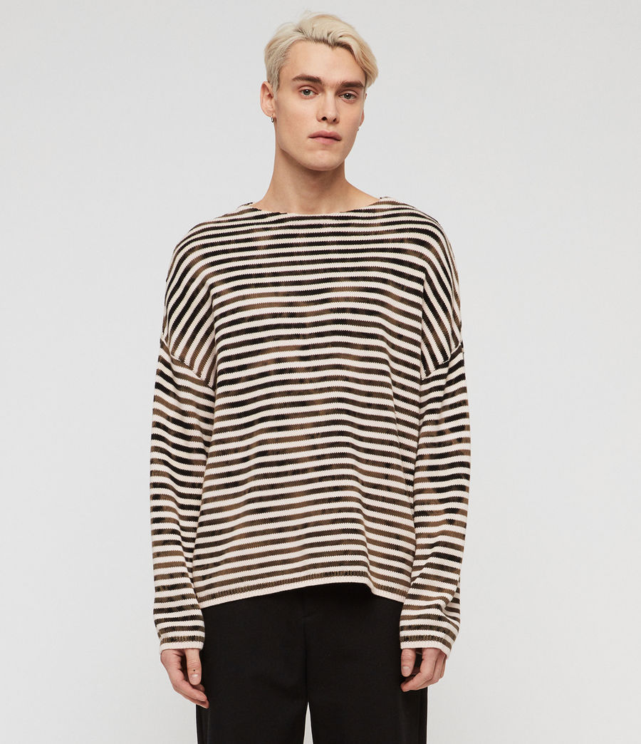 Men's Acid Stripe Crew Jumper (black_ecru) - Image 1