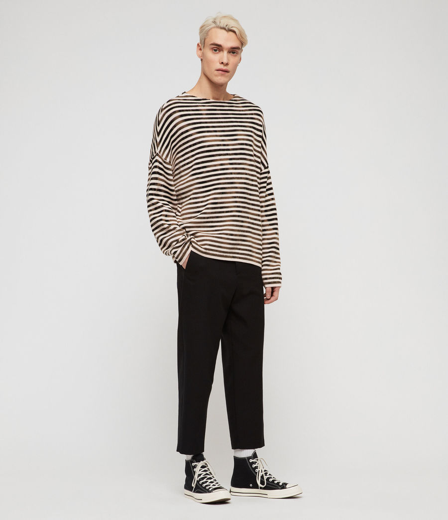 Mens Acid Stripe Crew Sweater (black_ecru) - Image 2