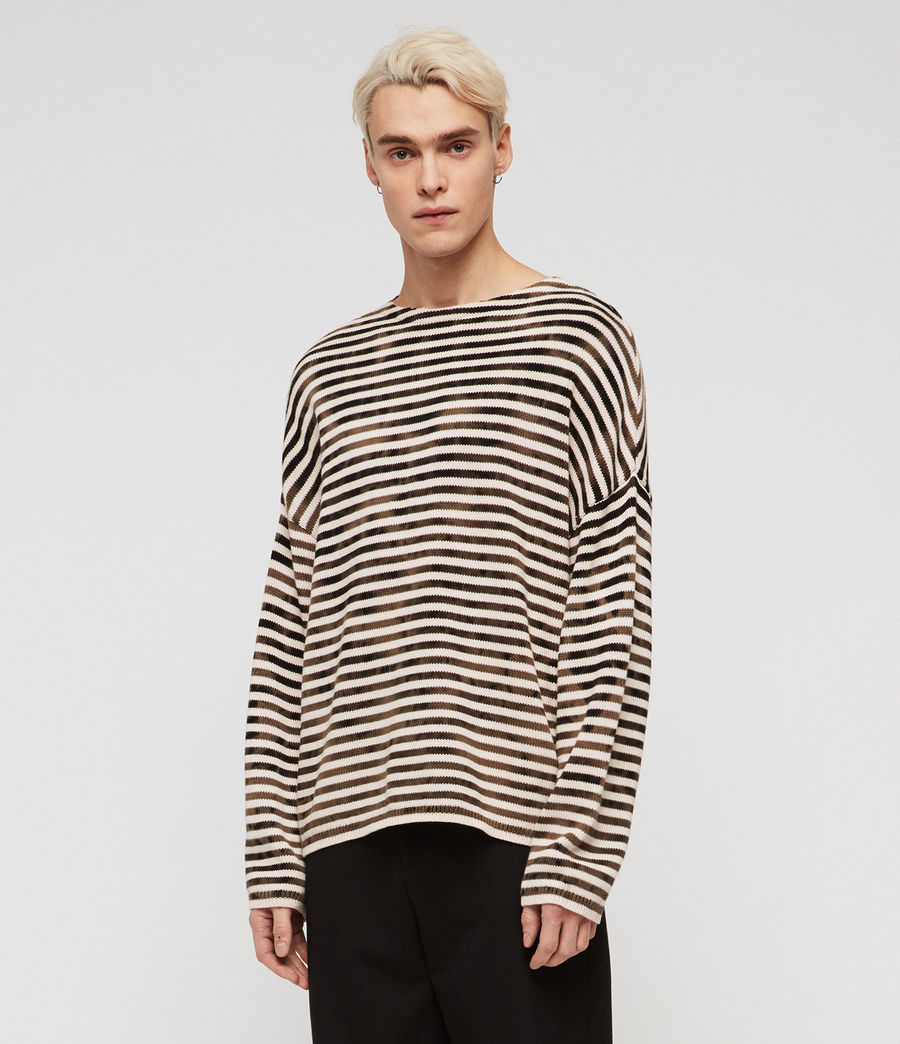 Men's Acid Stripe Crew Jumper (black_ecru) - Image 4