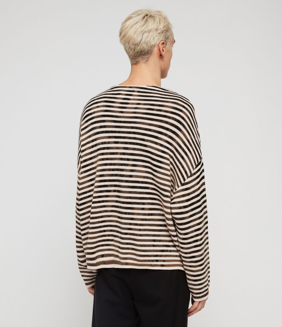 Men's Acid Stripe Crew Jumper (black_ecru) - Image 5