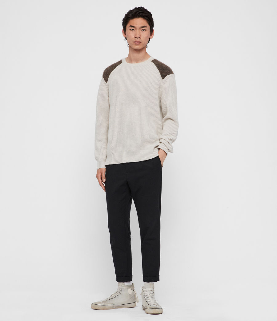 Men's Falter Crew Jumper (ecru_fawn_brown) - Image 1