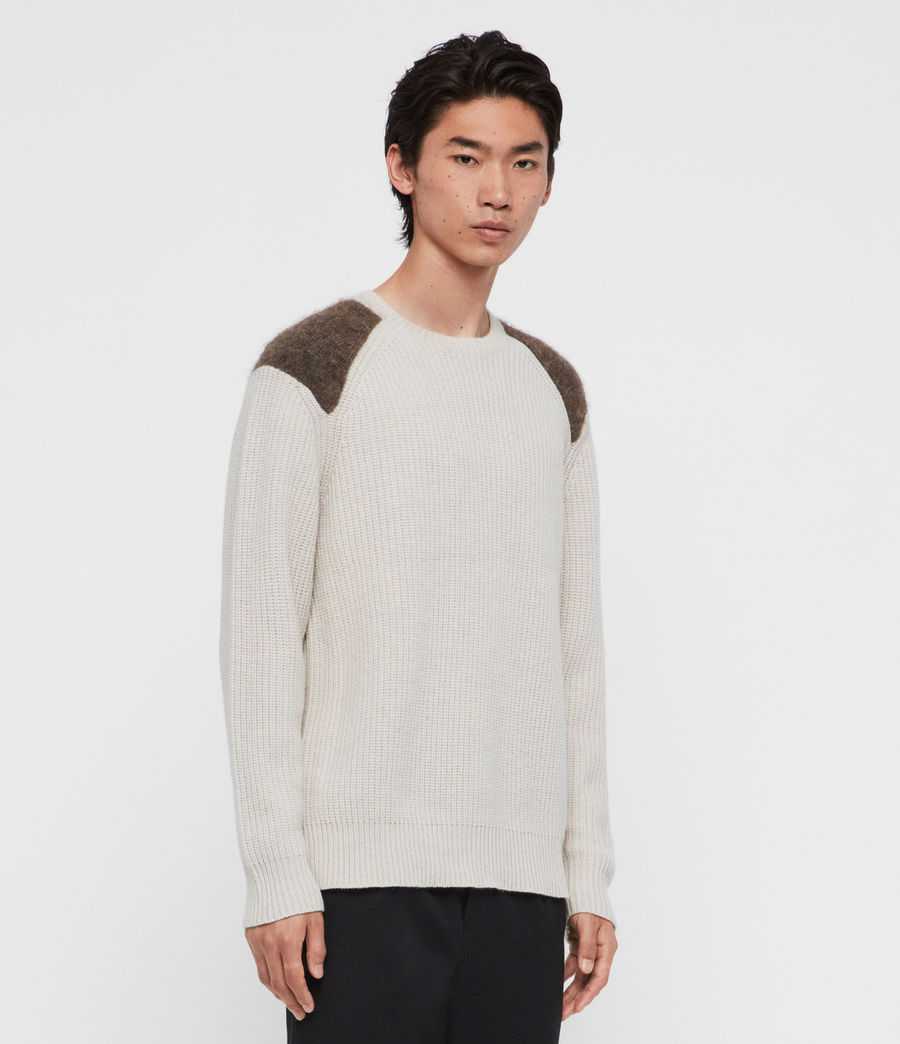Men's Falter Crew Jumper (ecru_fawn_brown) - Image 3