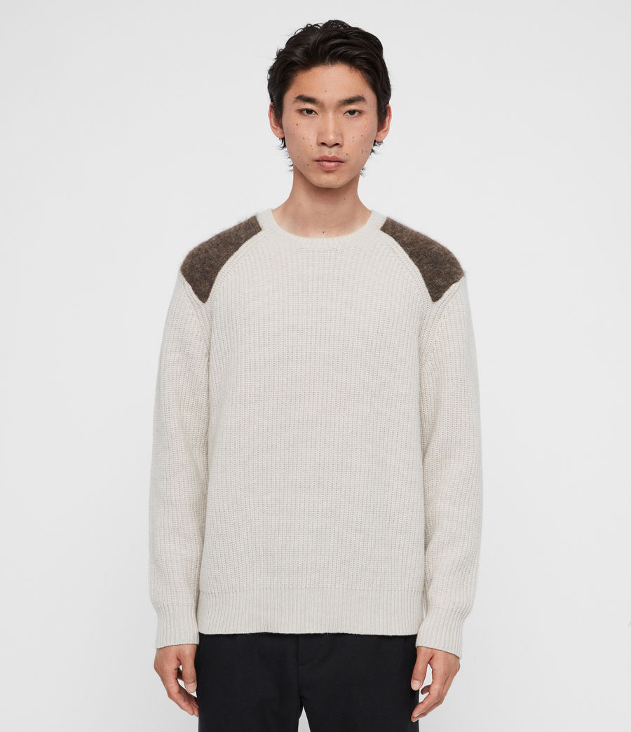 Men's Falter Crew Jumper (ecru_fawn_brown) - Image 4