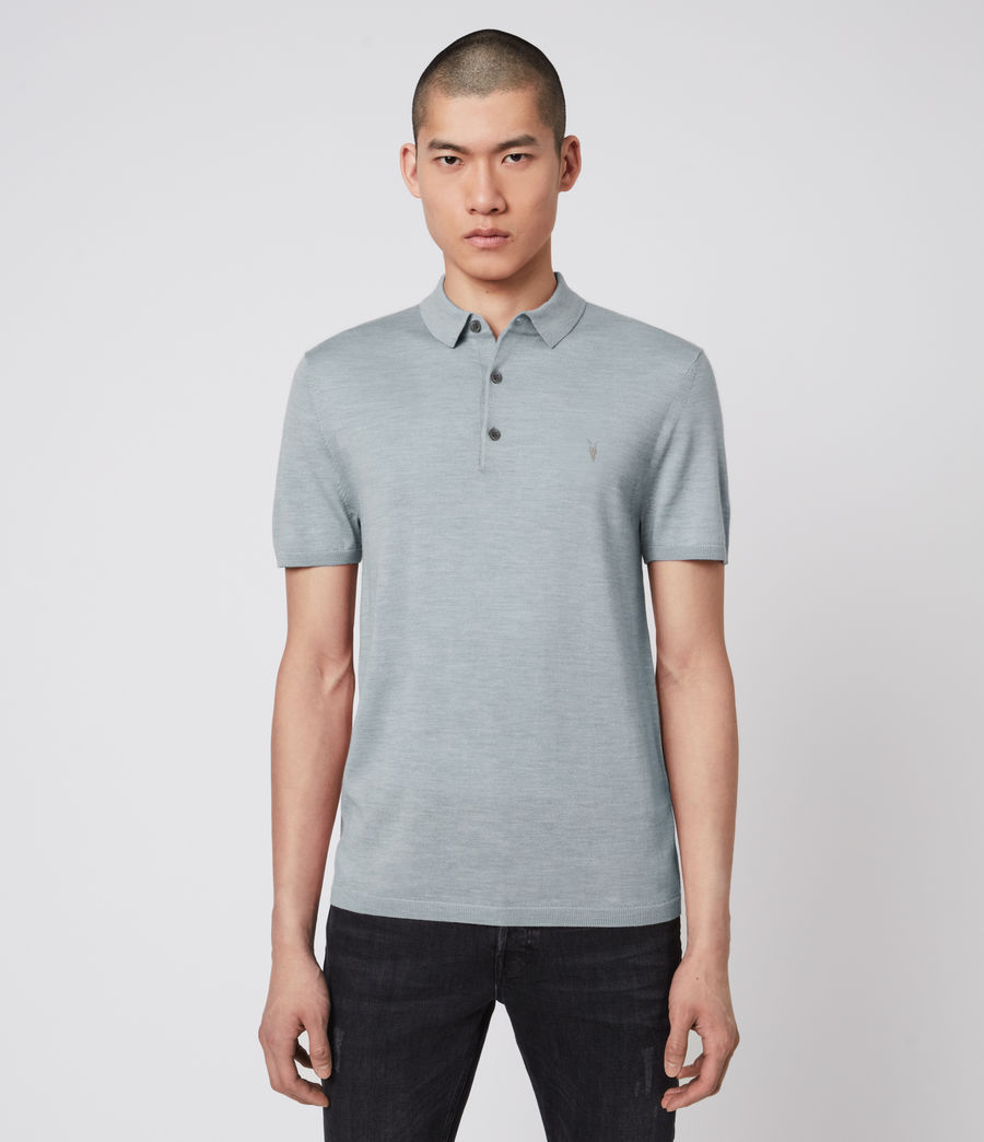 Hombres Mode Merino Short Sleeve Polo Shirt (nordic_blue_marl) - Image 1