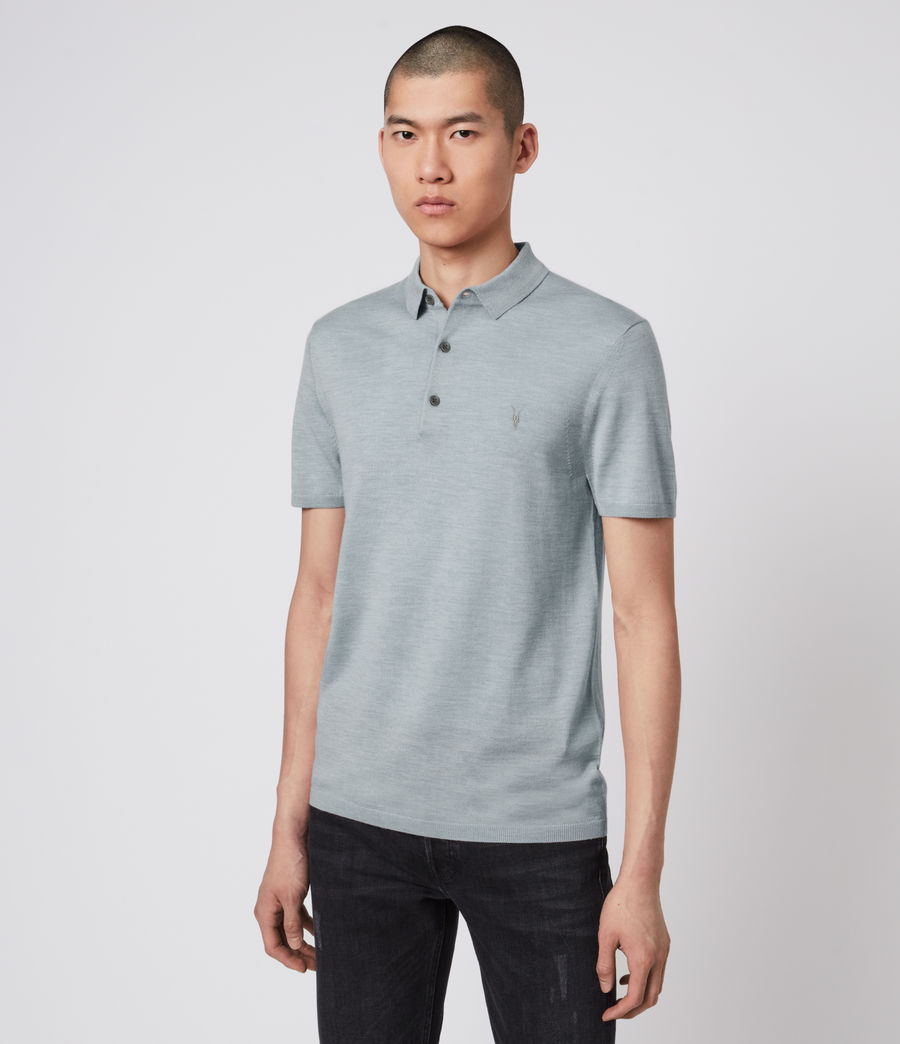 Hombres Mode Merino Short Sleeve Polo Shirt (nordic_blue_marl) - Image 4