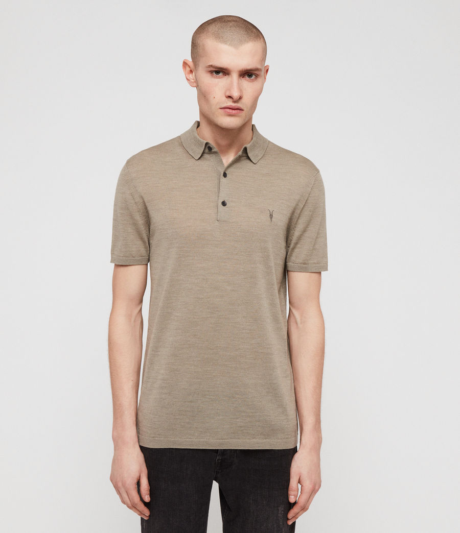 Men's Mode Merino Short Sleeve Polo Shirt (stone_green_marl) - Image 1