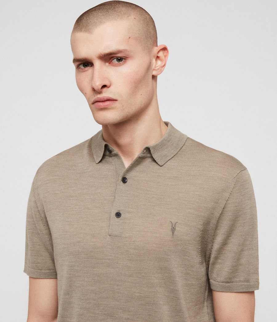Men's Mode Merino Short Sleeve Polo Shirt (stone_green_marl) - Image 2