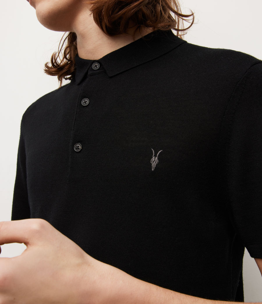 Mens Mode Merino Short Sleeve Polo Shirt (black) - Image 3