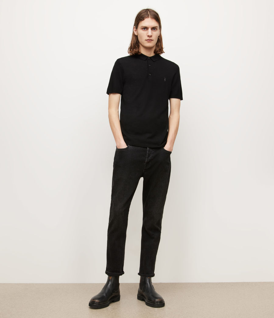 Mens Mode Merino Short Sleeve Polo Shirt (black) - Image 4
