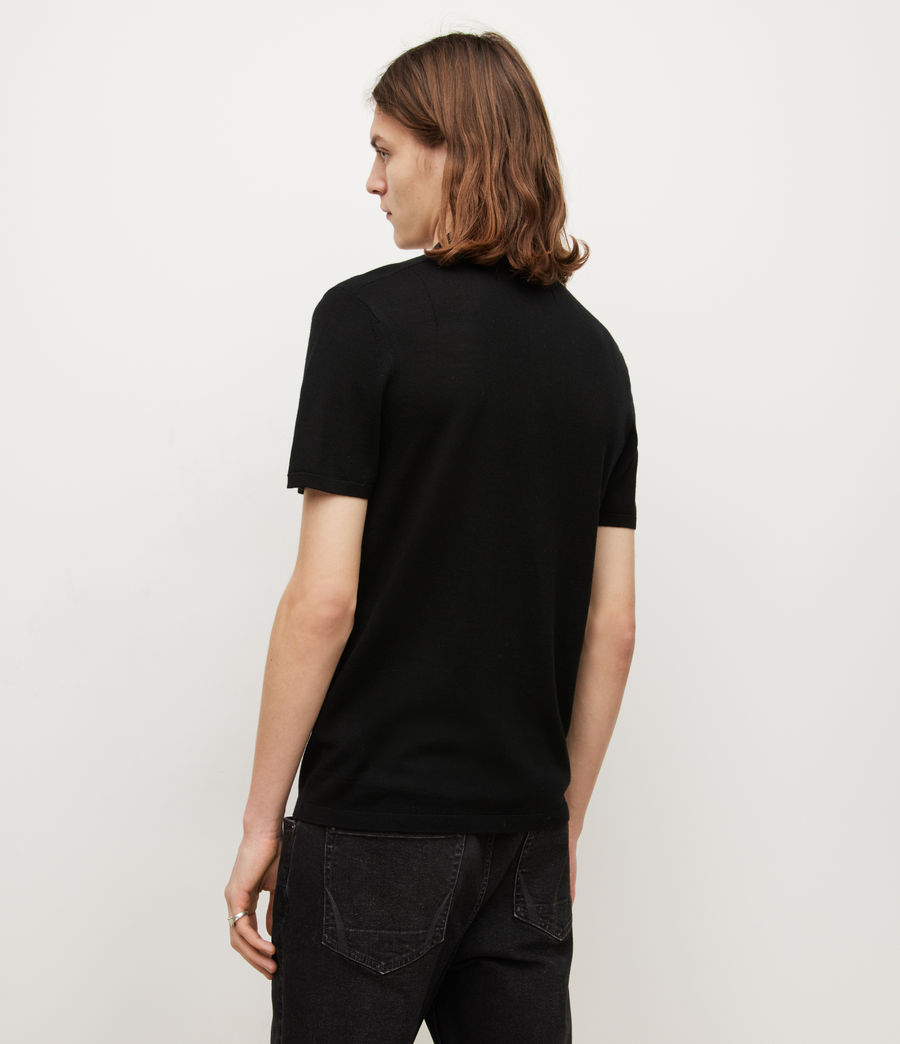 Mens Mode Merino Short Sleeve Polo Shirt (black) - Image 5