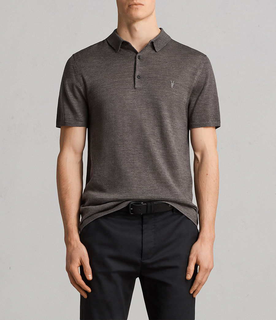 Mens Mode Merino Polo Shirt (heath_grey_marl) - Image 1