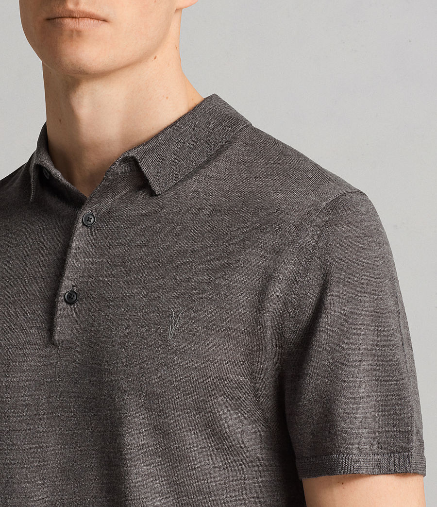 Mens Mode Merino Polo Shirt (heath_grey_marl) - Image 2