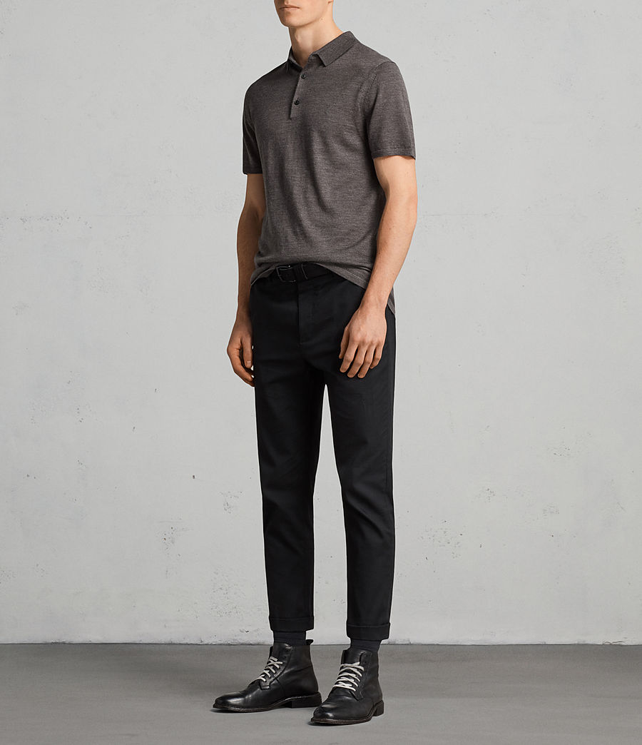 Mens Mode Merino Polo Shirt (heath_grey_marl) - Image 3