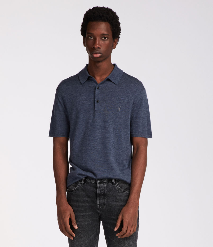 Hombres Polo Mode Merino (washed_navy_marl) - Image 1