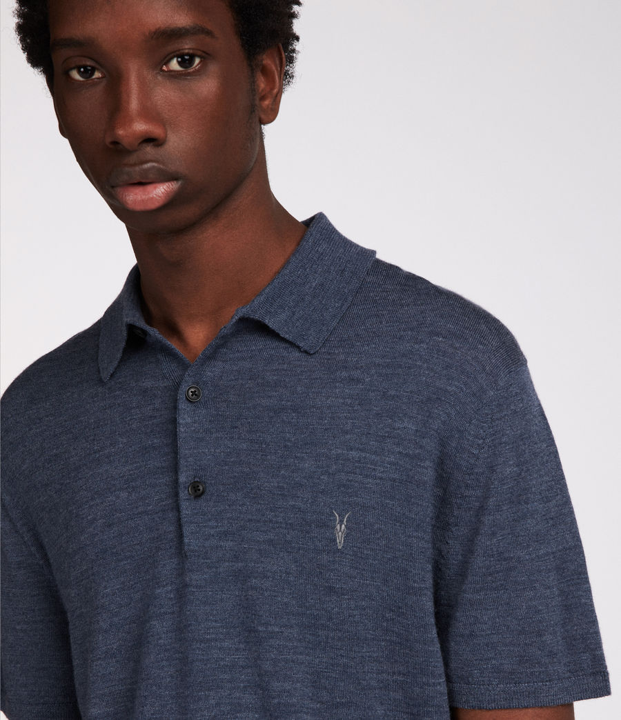 Hombres Polo Mode Merino (washed_navy_marl) - Image 2