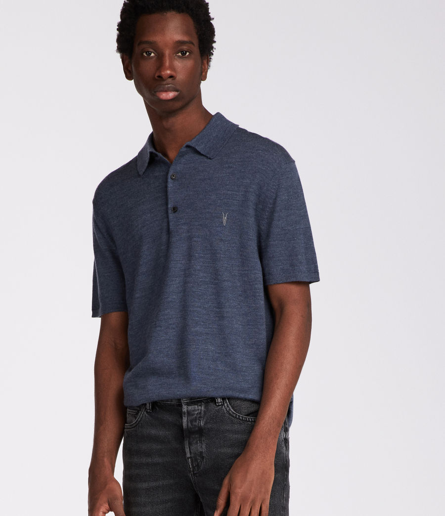 Hombres Polo Mode Merino (washed_navy_marl) - Image 3