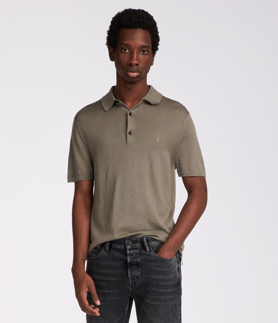 Men's Mode Merino Polo (trench_khaki) - Image 2