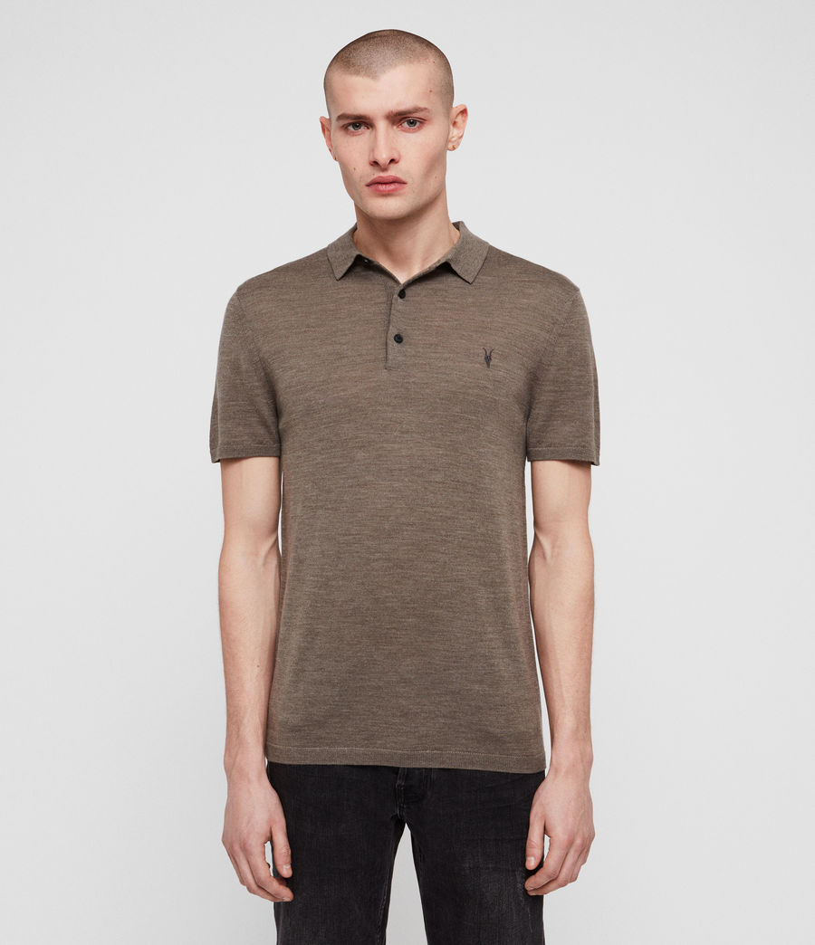 Men's Mode Merino Polo Shirt (bark_green_marl) - Image 1