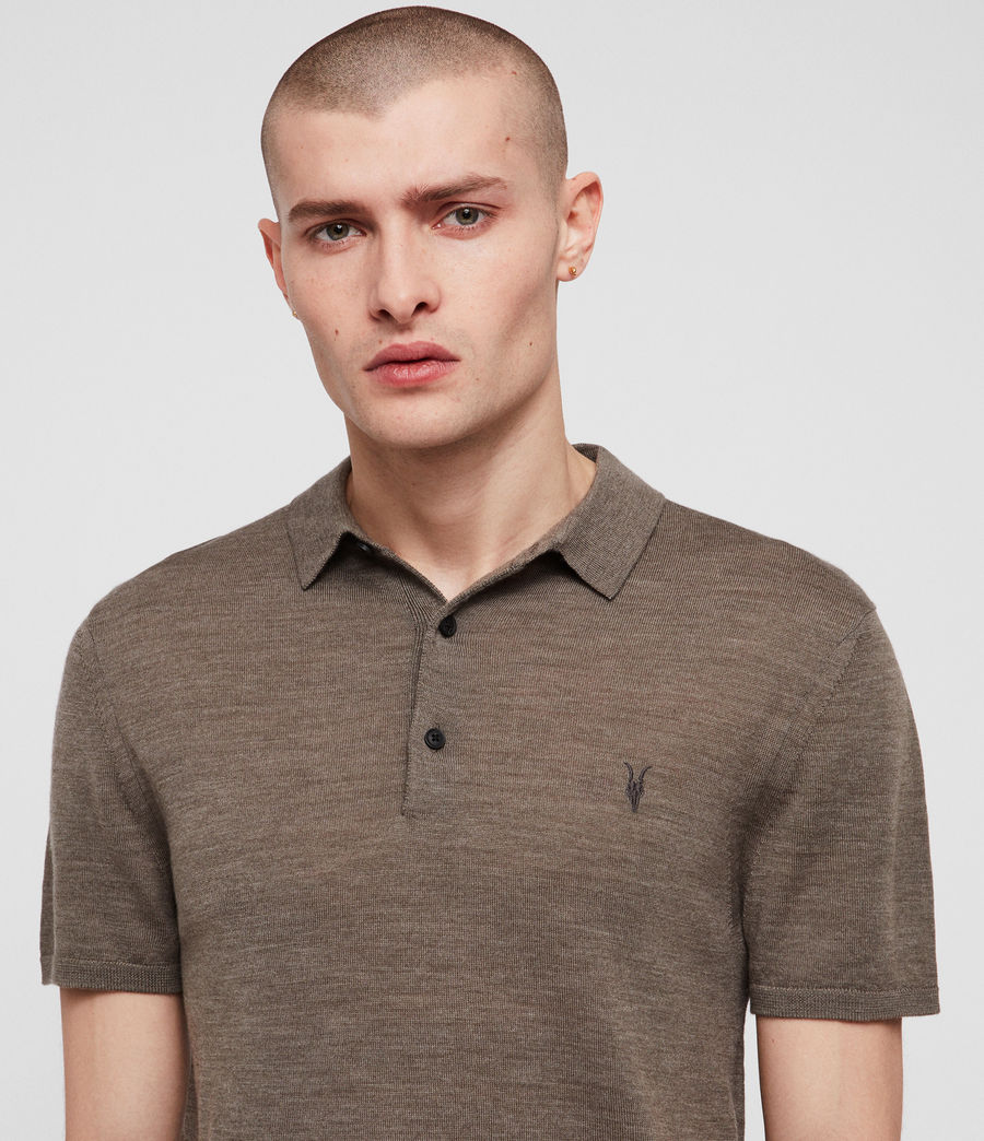 Men's Mode Merino Polo Shirt (bark_green_marl) - Image 2