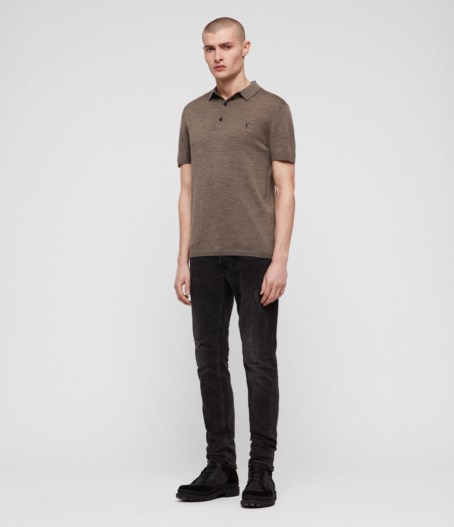 Men's Mode Merino Polo Shirt (bark_green_marl) - Image 3