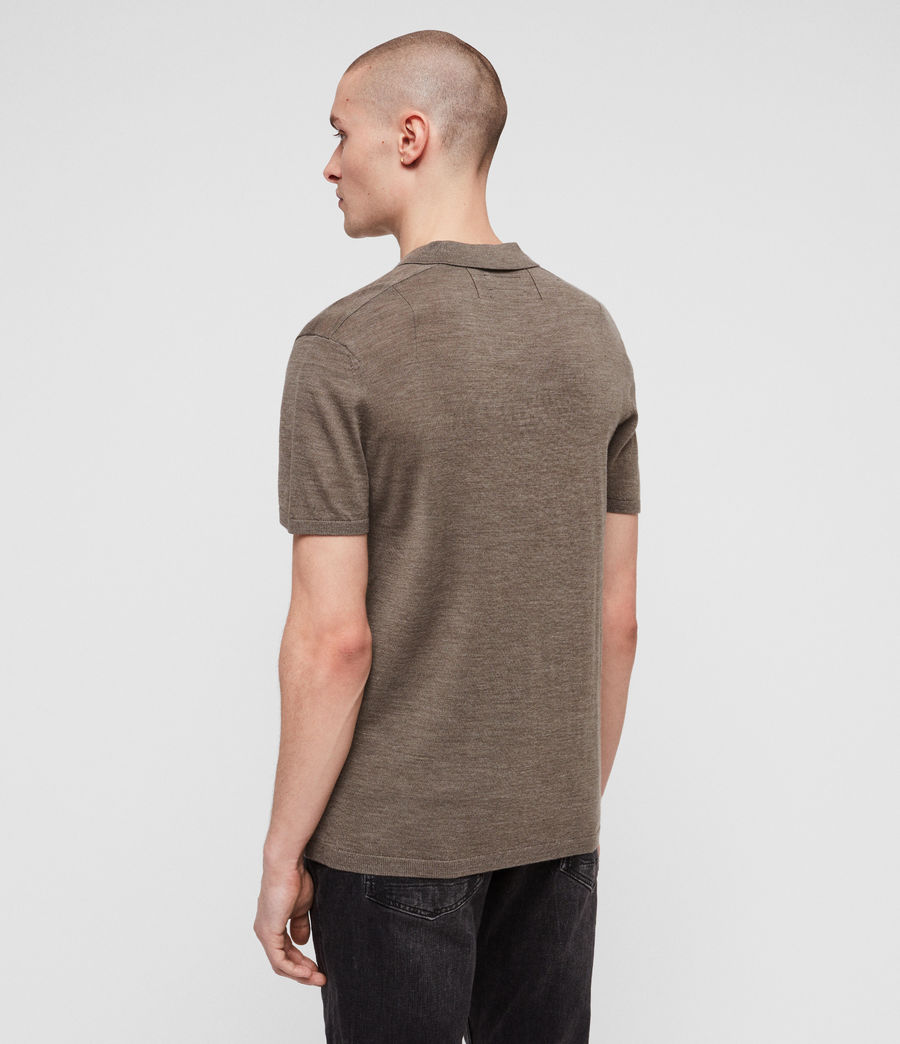 Men's Mode Merino Polo Shirt (bark_green_marl) - Image 4