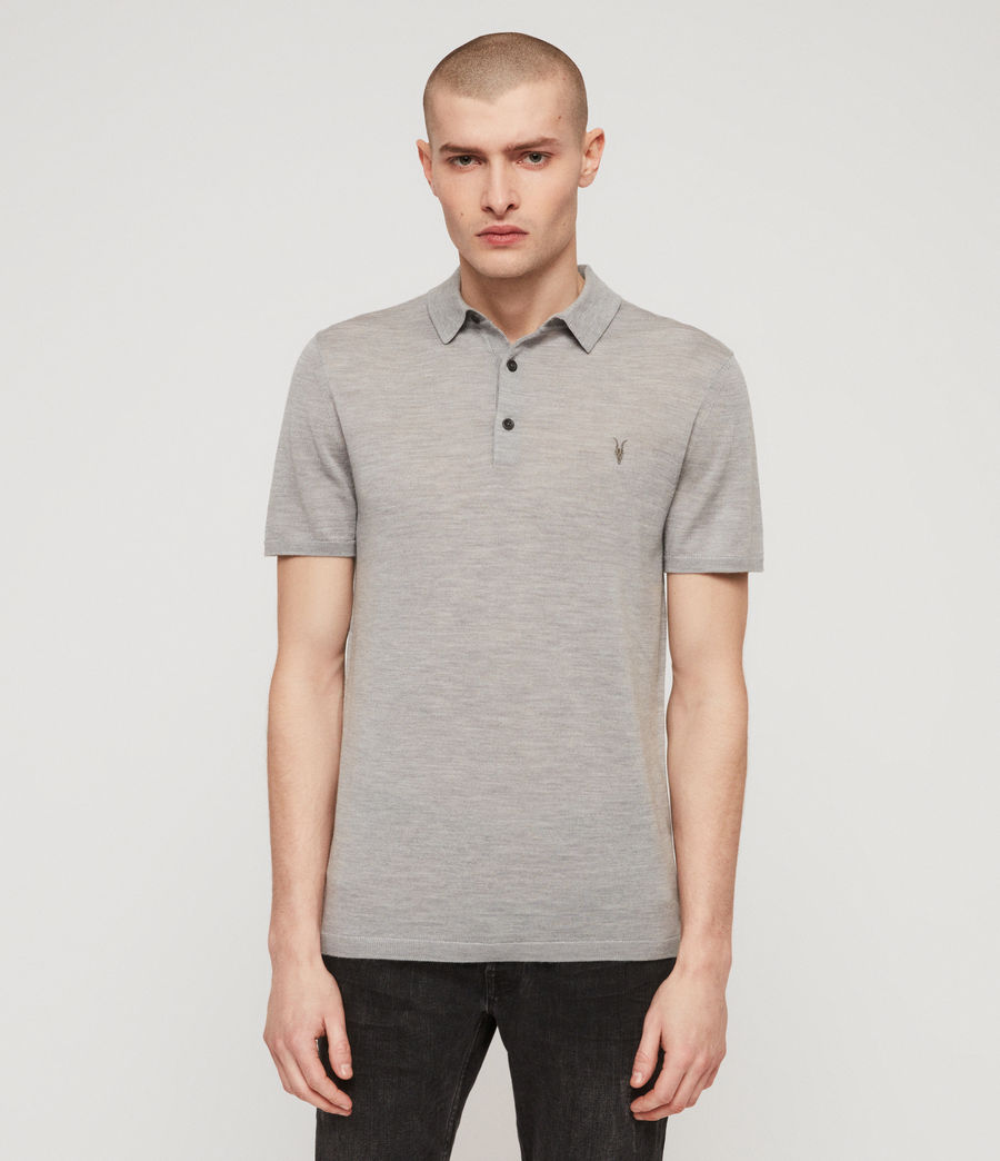 Mens Mode Merino Short Sleeve Polo Shirt (space_blue_marl) - Image 1