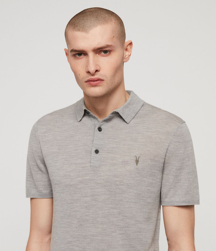 Mens Mode Merino Short Sleeve Polo Shirt (space_blue_marl) - Image 2