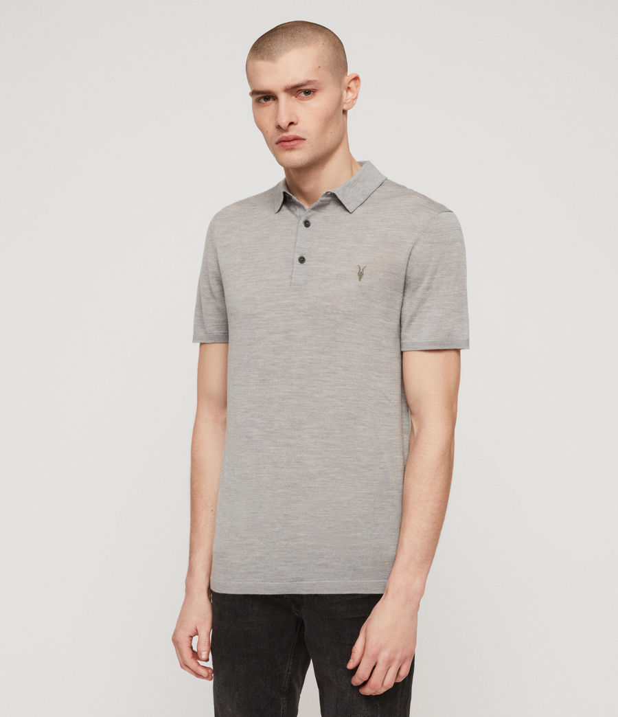 Mens Mode Merino Short Sleeve Polo Shirt (space_blue_marl) - Image 4