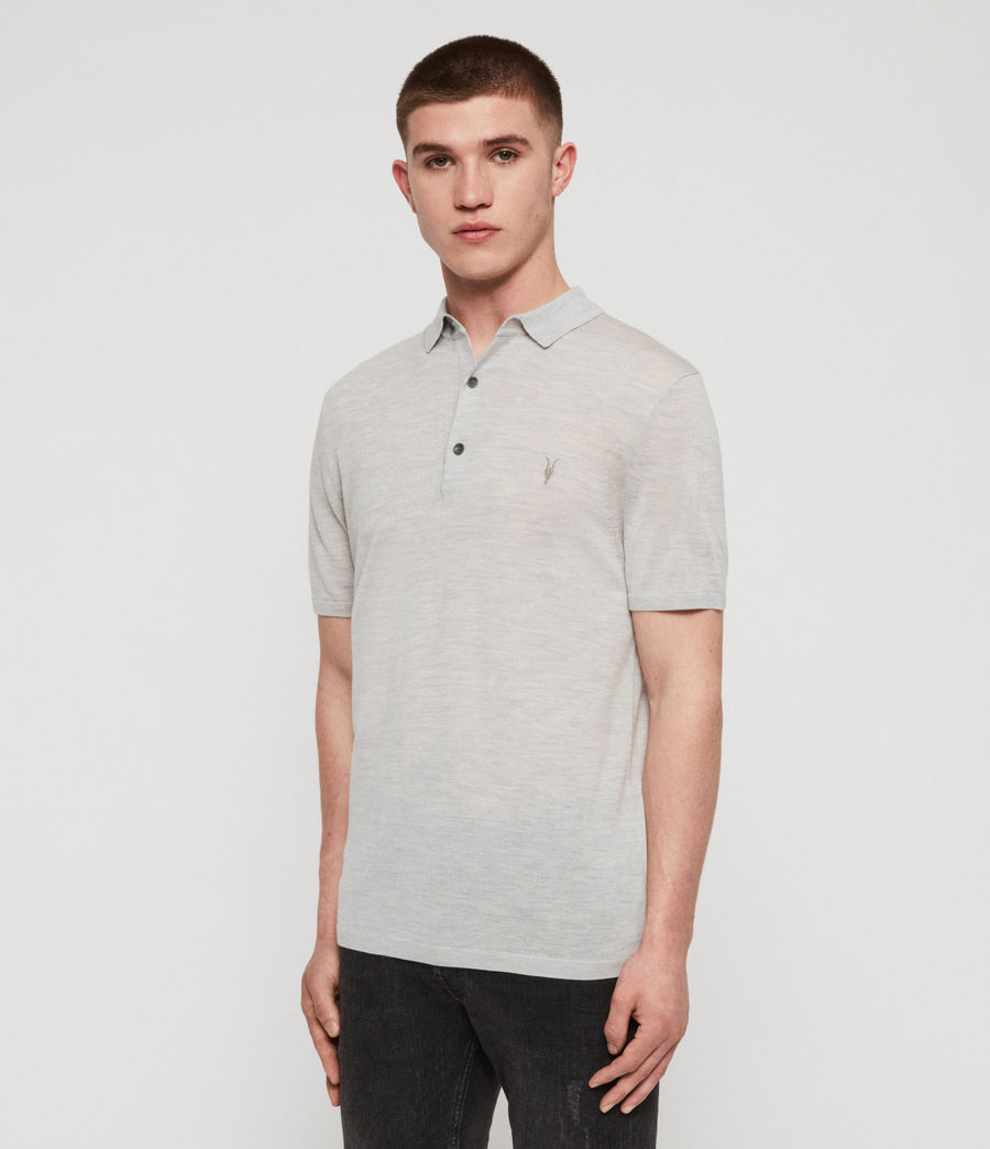 Mens Mode Merino Polo Shirt (sky_blue_marl) - Image 3