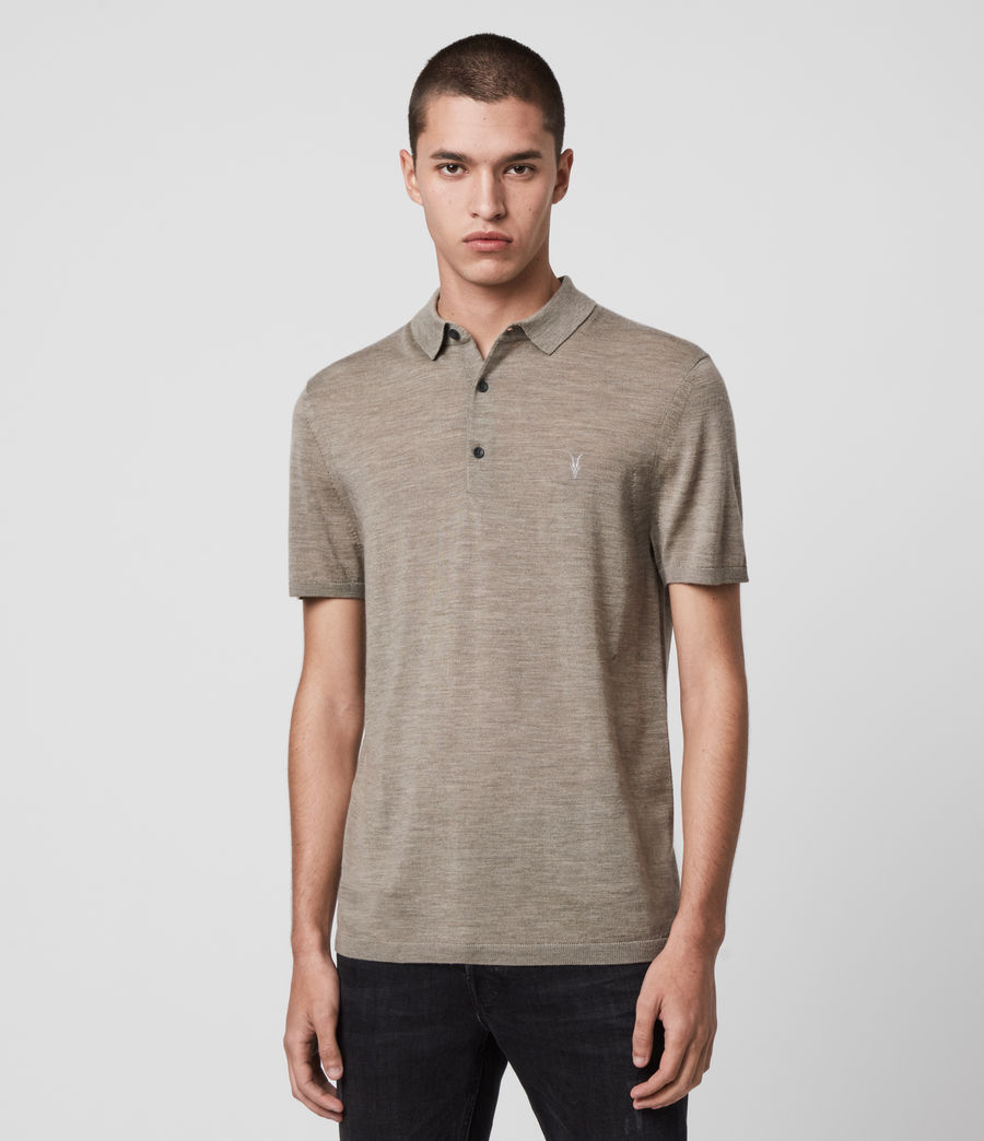 Hombres Mode Merino Short Sleeve Polo Shirt (sage_green_marl) - Image 1