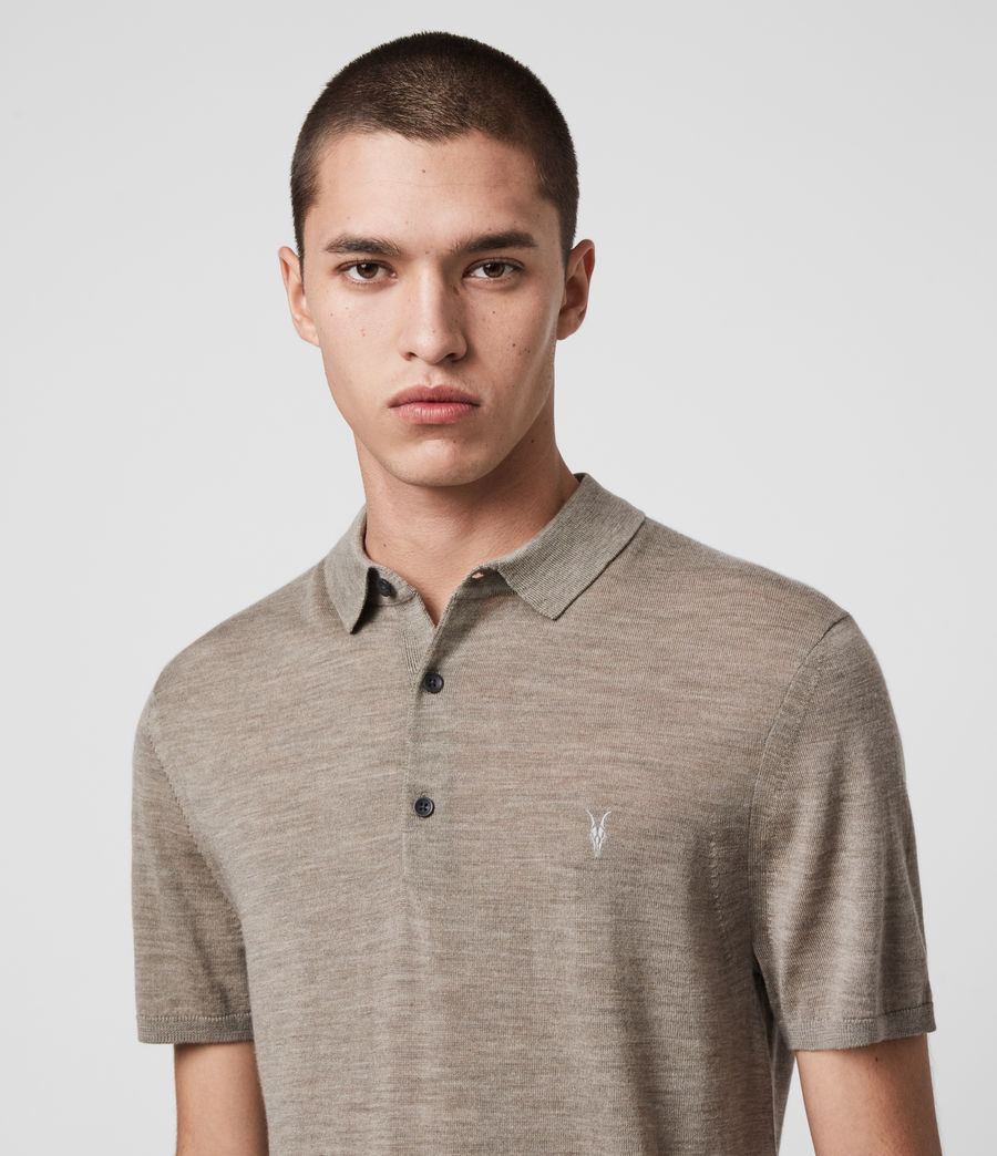Hombres Mode Merino Short Sleeve Polo Shirt (sage_green_marl) - Image 2