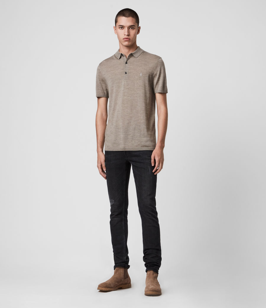 Hombres Mode Merino Short Sleeve Polo Shirt (sage_green_marl) - Image 3