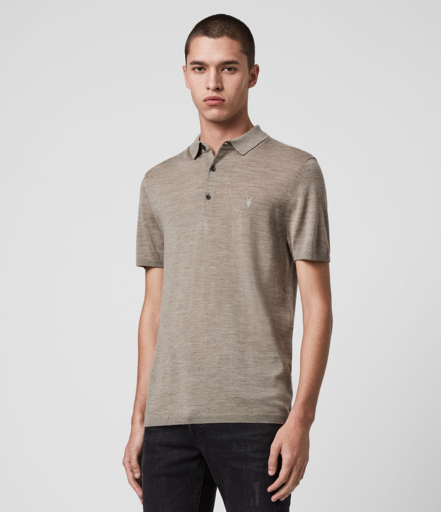 Hombres Mode Merino Short Sleeve Polo Shirt (sage_green_marl) - Image 4