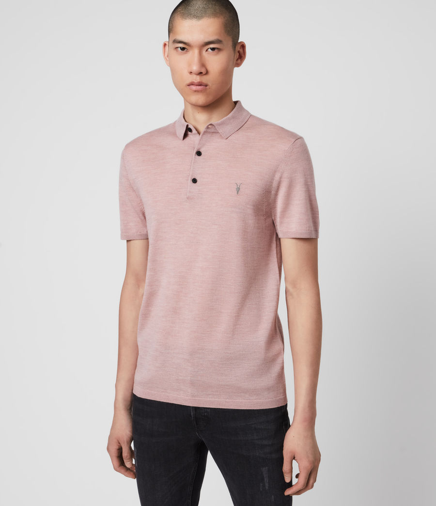 Hombres Mode Merino Polo Shirt (sunset_pink_marl) - Image 1