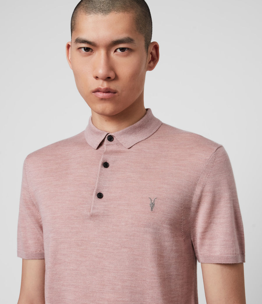 Hombres Mode Merino Polo Shirt (sunset_pink_marl) - Image 2