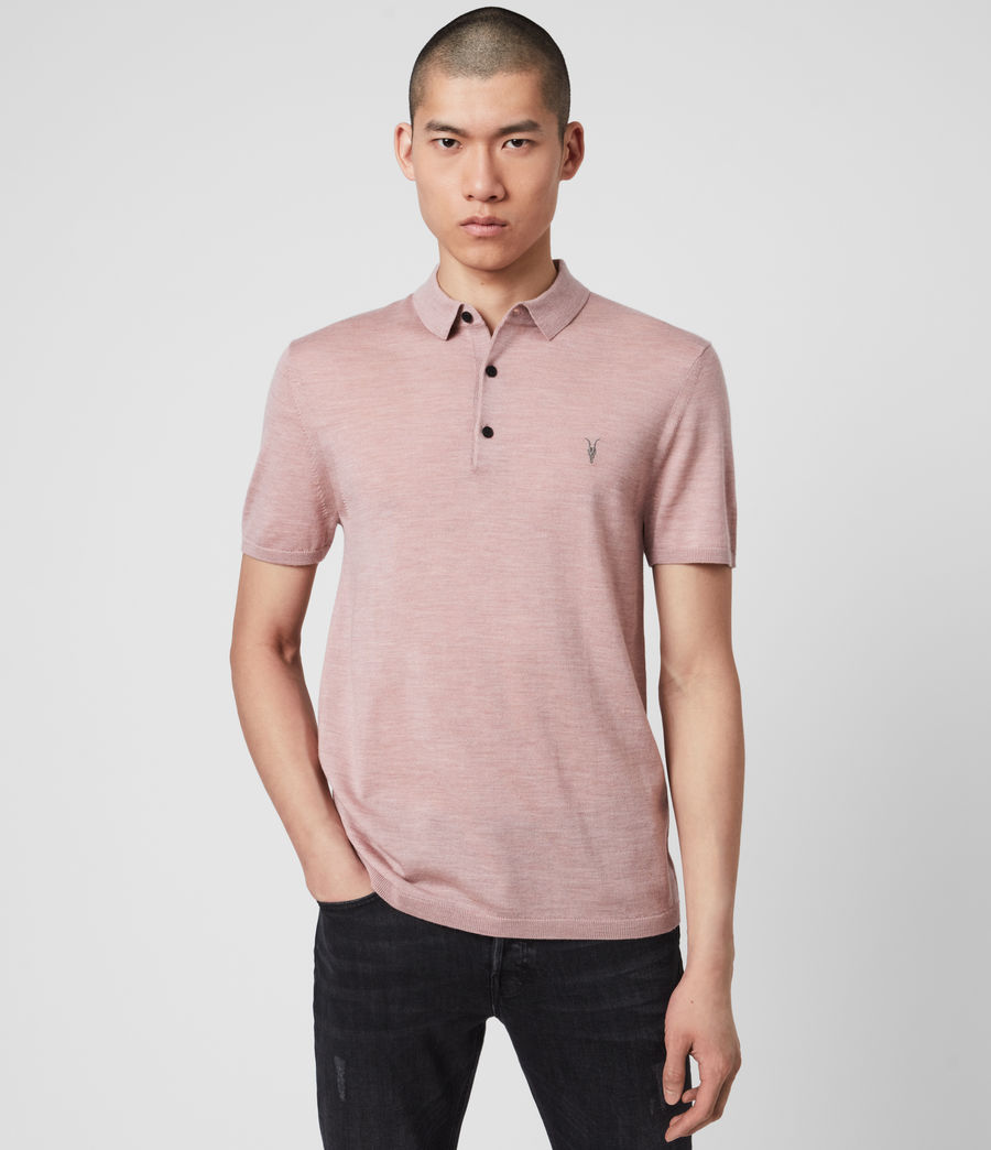 Hombres Mode Merino Polo Shirt (sunset_pink_marl) - Image 4