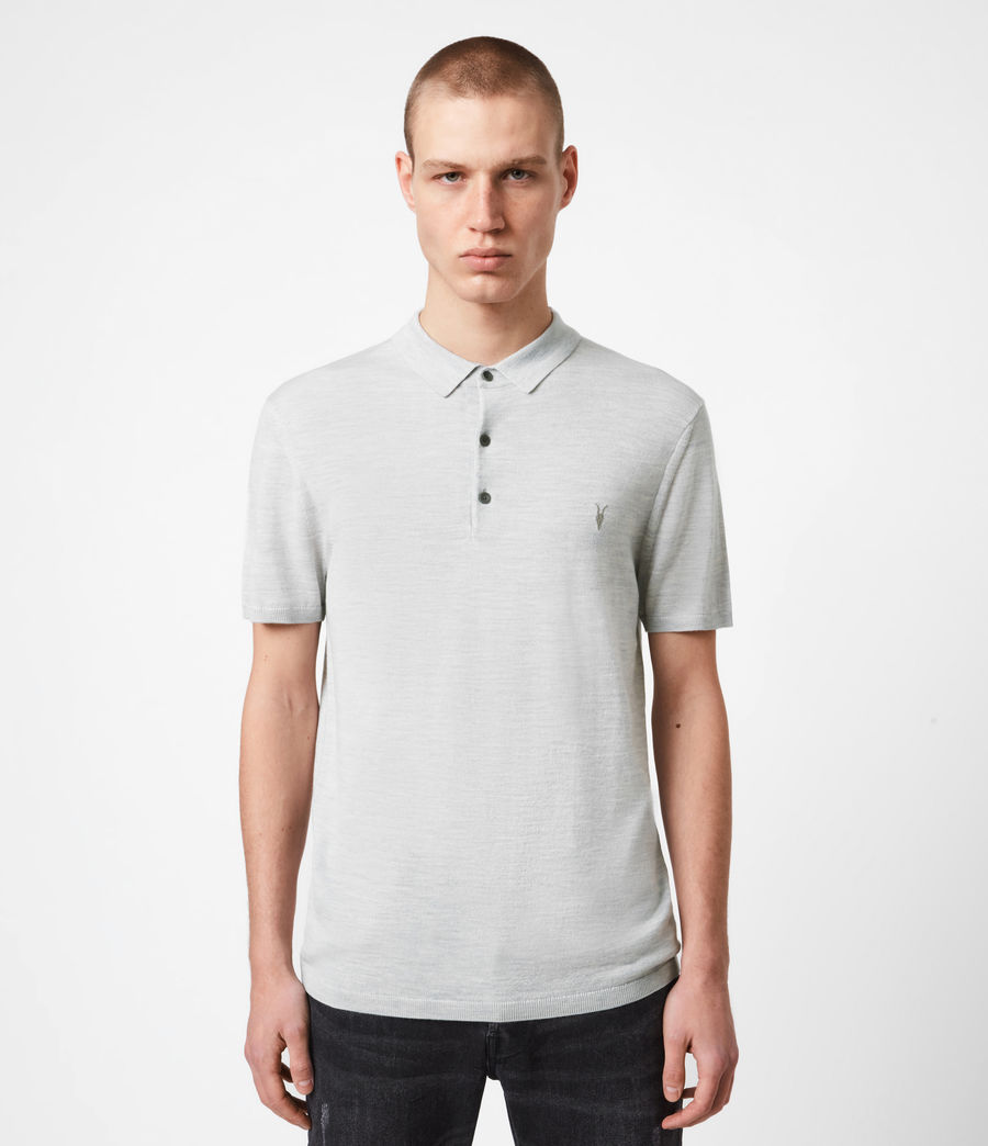 Men's Mode Merino Short Sleeve Polo Shirt (light_grey_marl) - Image 1