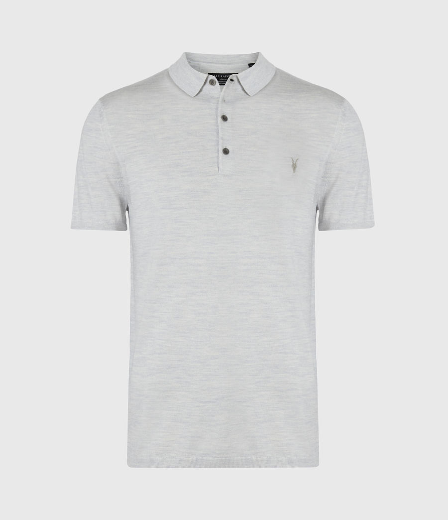 Herren Mode Merino Polohemd (light_grey_marl) - Image 2