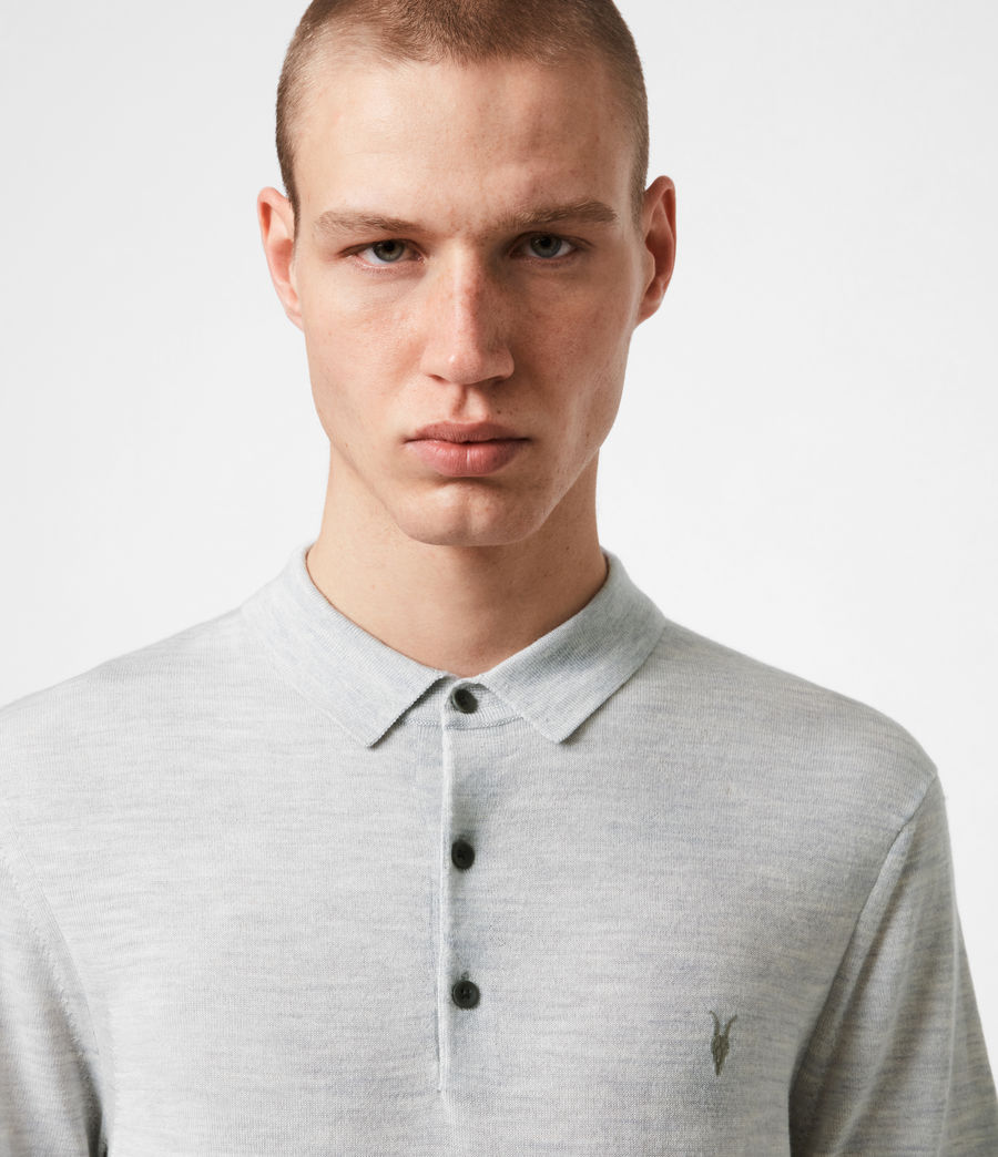 Herren Mode Merino Polohemd (light_grey_marl) - Image 4