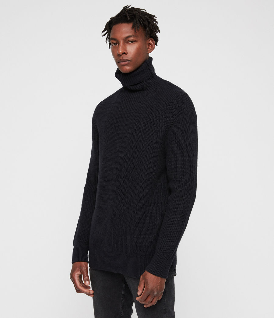 Mens Jett Funnel Sweater (ink_navy) - Image 1
